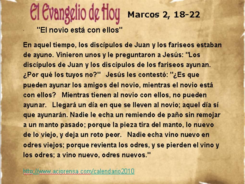 Evangelio de Hoy – 19-Enero-2015 – Marcos 2, 18-22 « VitaNoble ...