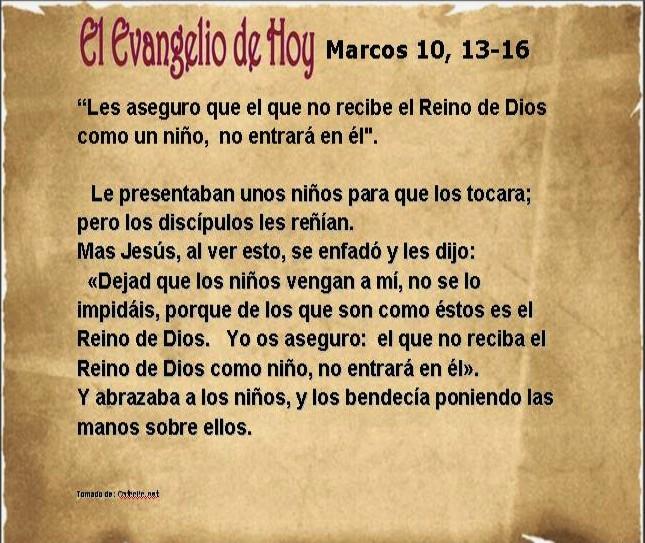 Evangelio de Hoy 21 de mayo de 2016 – Marcos 10, 13-16 « VitaNoble ...