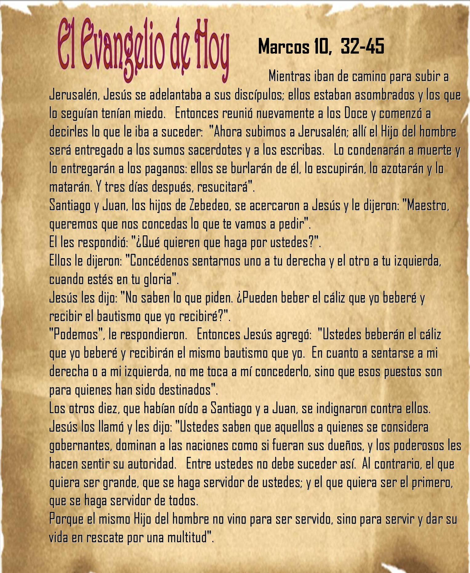 Evangelio de Hoy – Marcos 10, 32-45 « VitaNoble Powerpoints